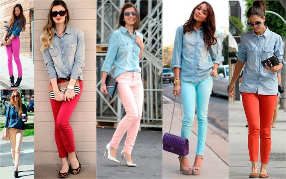 color jeans and jean shirt