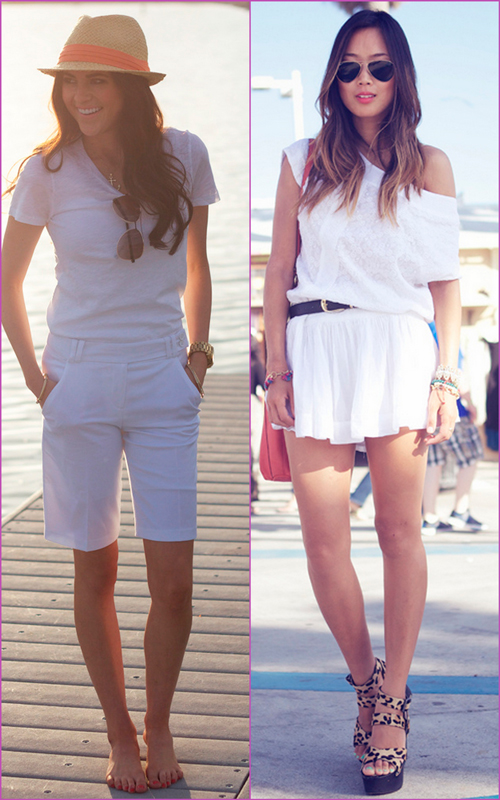 white looks - white beach shorts and mini