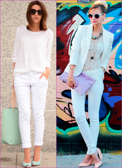 white looks - white pants looks - color accessories