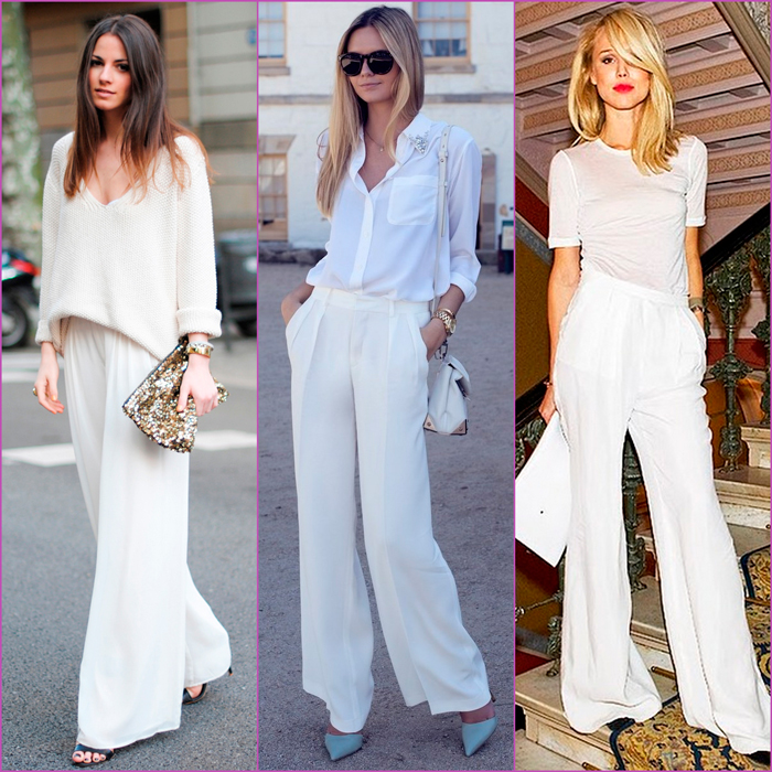 white looks - flat pants - palazzo pants