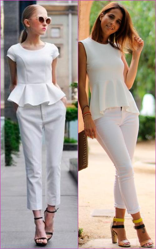 white looks - white peplum pants looks