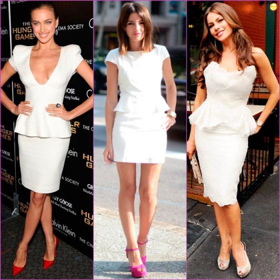 white looks - white peplum dresses