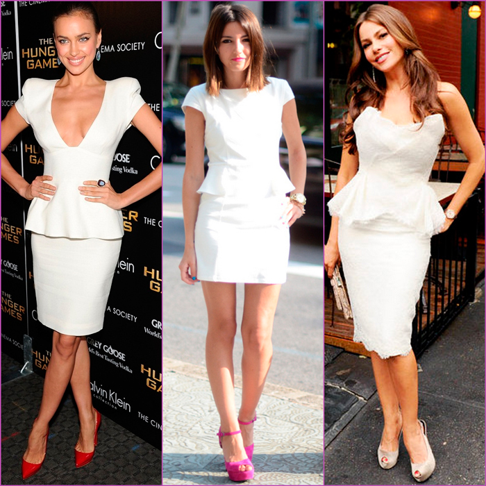white looks - white peplum dresses
