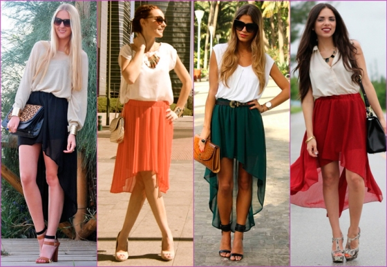 tail hem color skirts