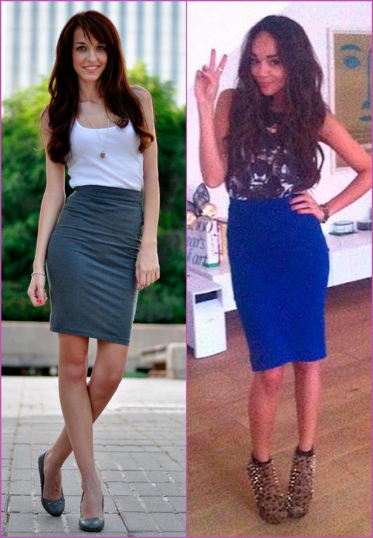 pencil skirt and shirt - falda lápiz y camiseta