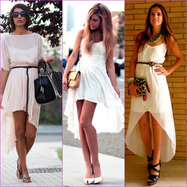 vestidos blancos asimétricos