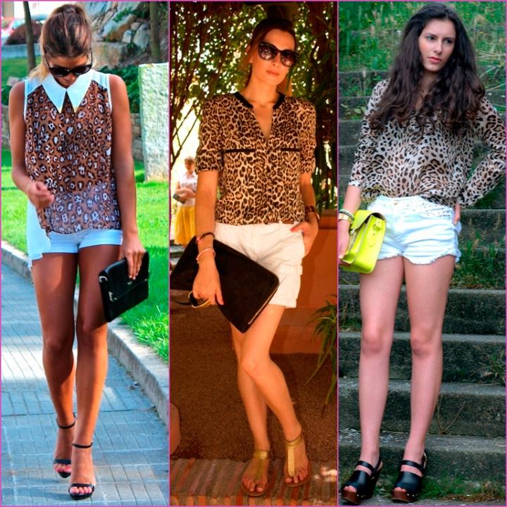 blusa estampado leopardo y  blanco