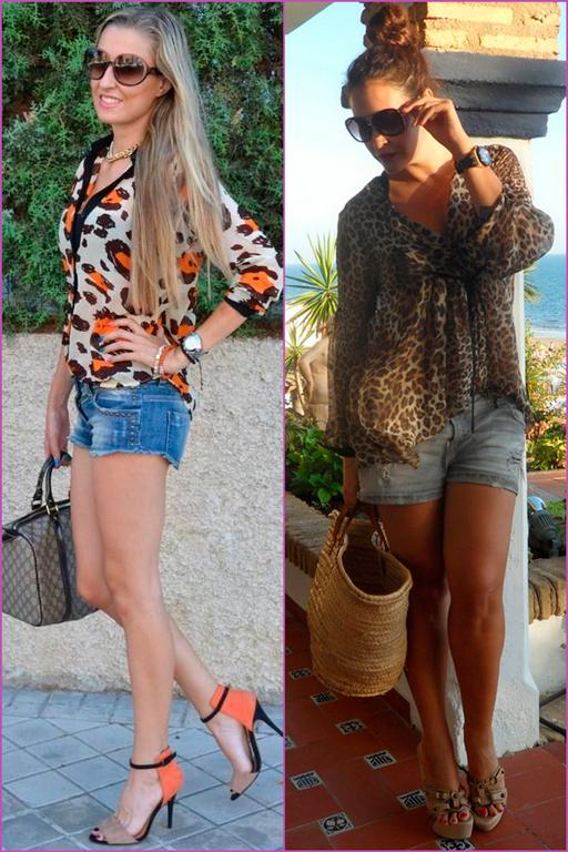 blusa estampada y short tejano