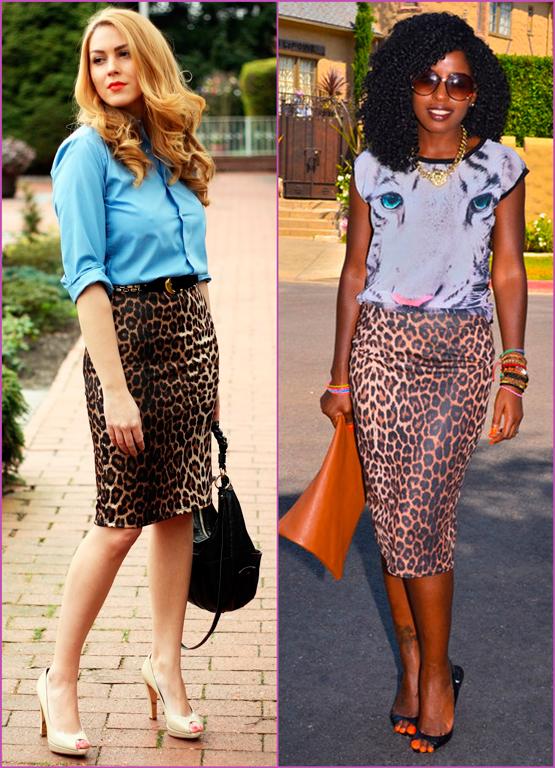 falda lapíz estampado leopardo