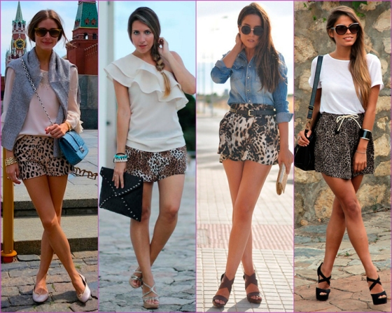 shorts estampados leopardo