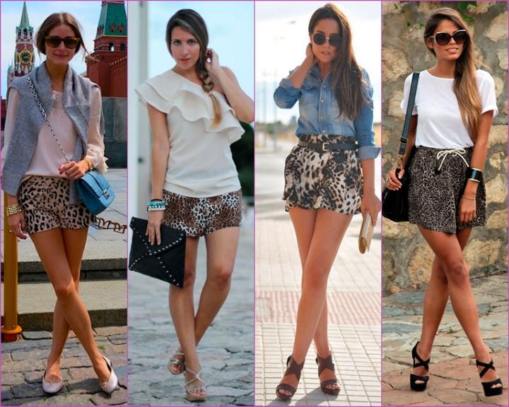 shorts estampados leopardo