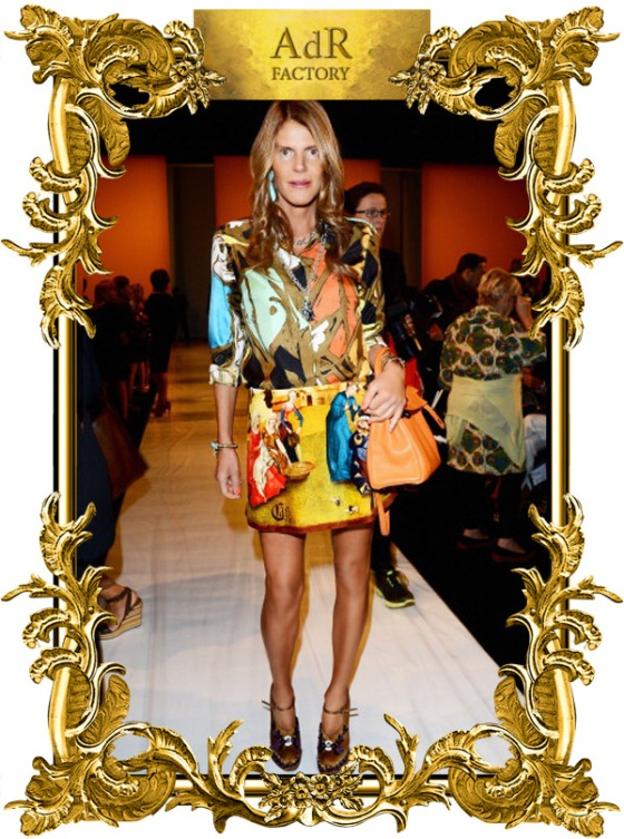 Anna dello Russo in Balenciaga shirt and Carven skirt