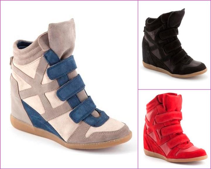 black, red sneakers