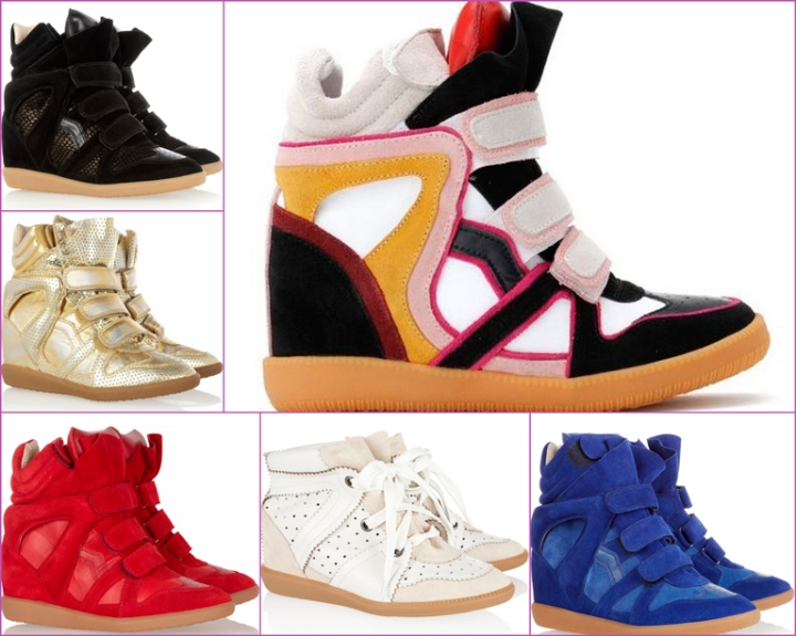 red, blue, colorful, golden black sneakers