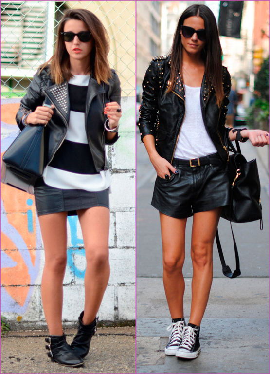 biker jacket and leather skirt