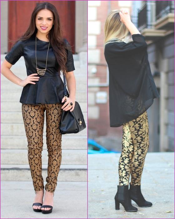 Brocade gold and black pants