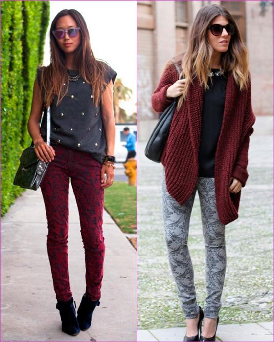 Brocade pants-burgundy