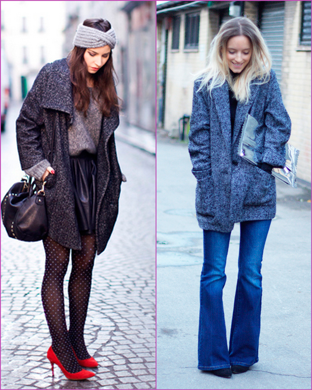 oversized grey coat retro look