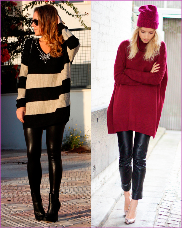 Oversized sweater-leather pant