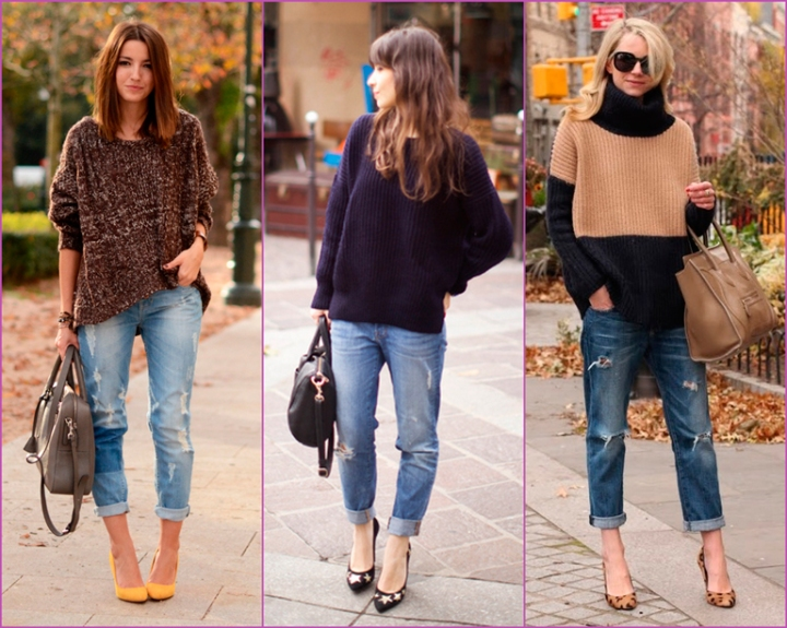 boyfriend jean-oversized sweater-high heals