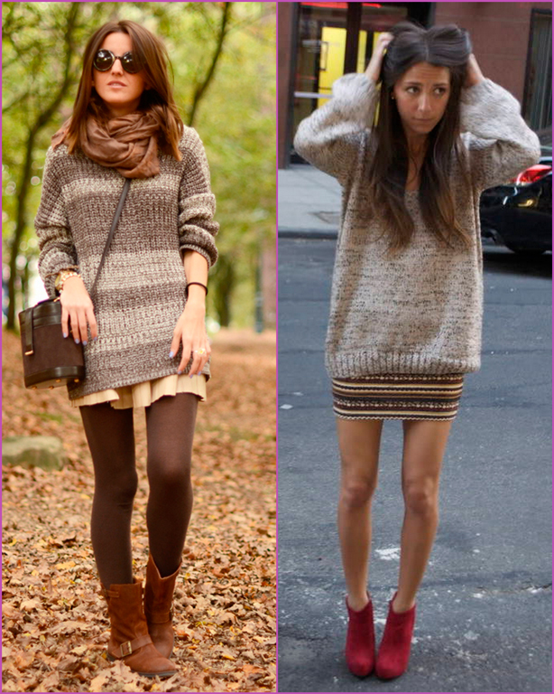 oversized sweater-mini skirt