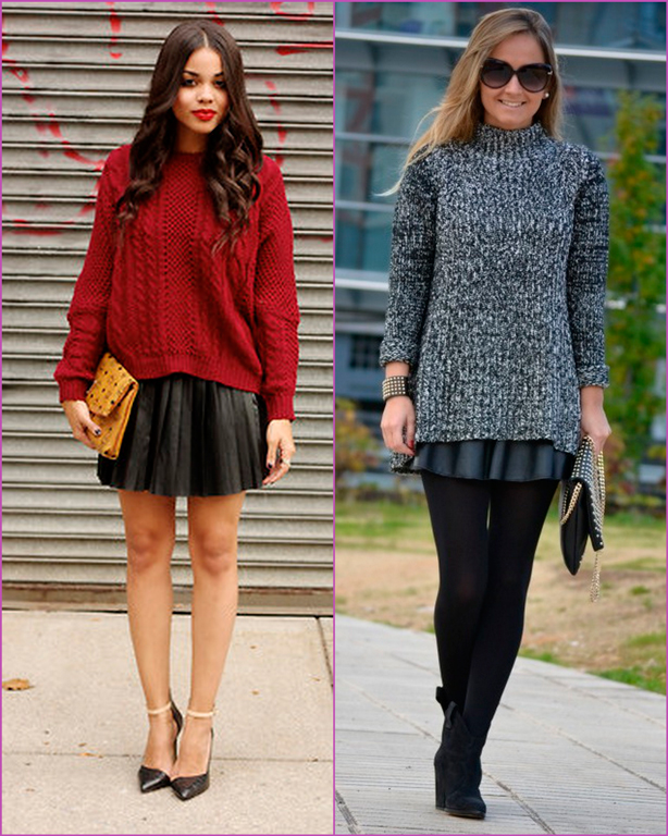 Oversized sweater-leatehr skirt
