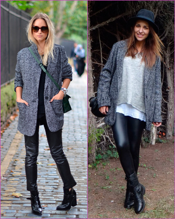 oversized grey coat-leather pants