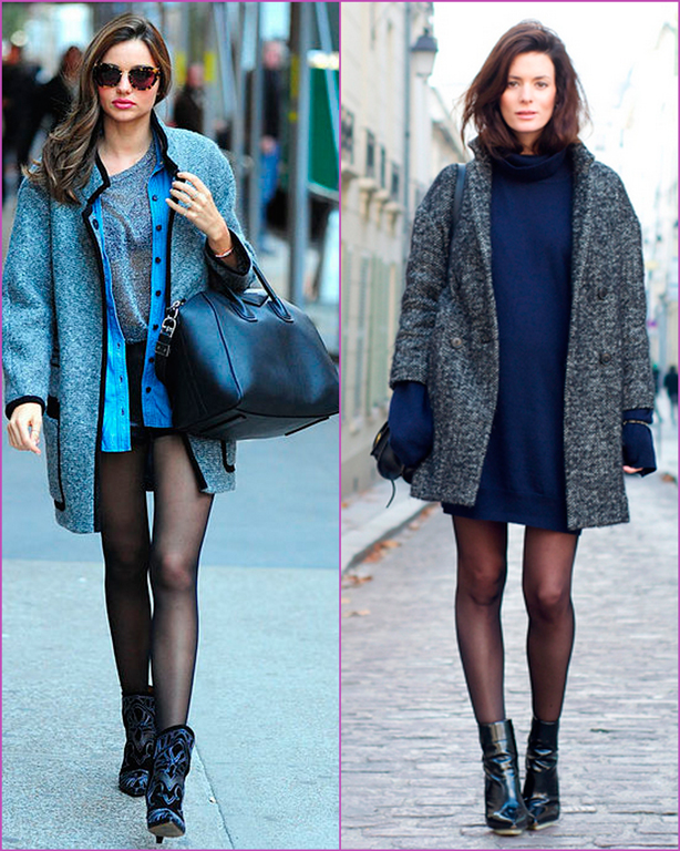 oversized grey coat -blue