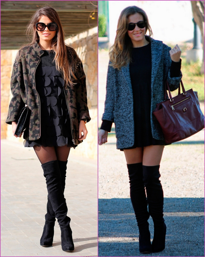 Oversized coat - high black boots