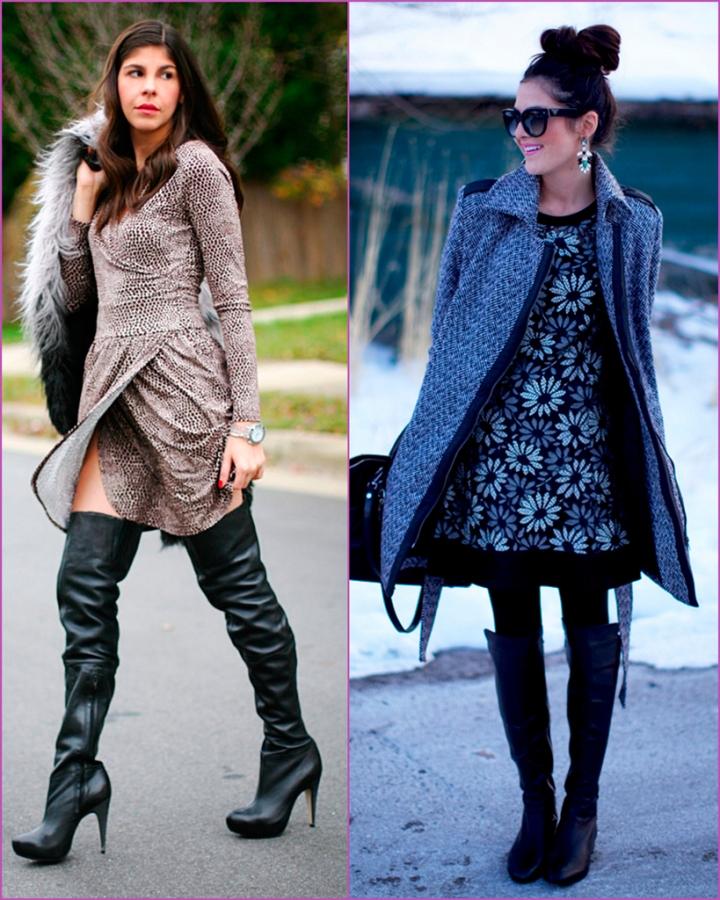 hign black boots - dress combination - printed dress