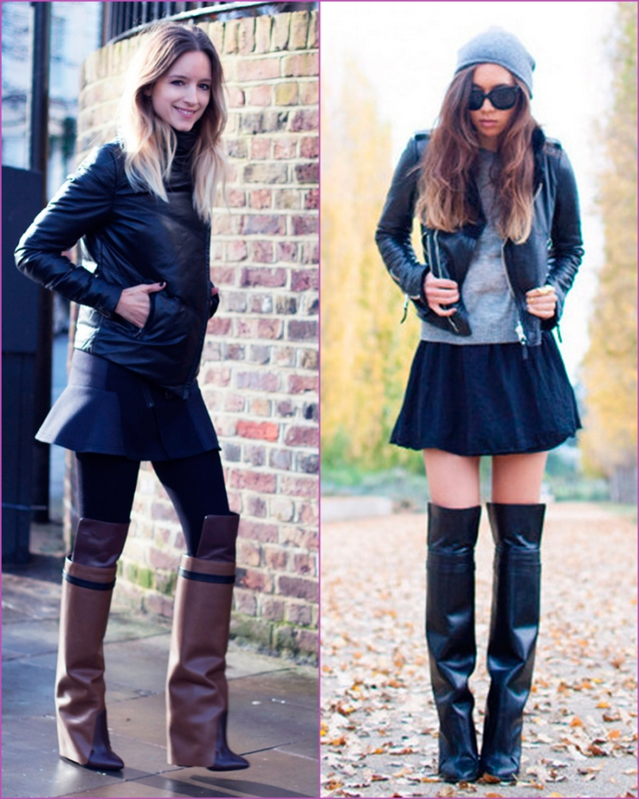 botas altas Givenchy Leather knee wedge boots