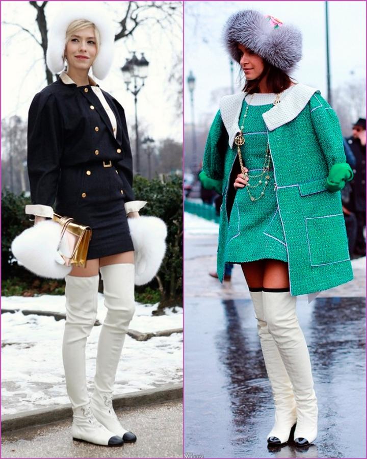 Elena Perminova - Miroslava Duma - chanel white boots
