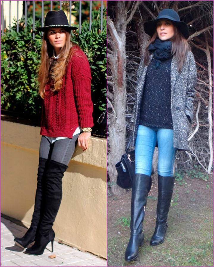 Botas altas - jean - jersey - sweater