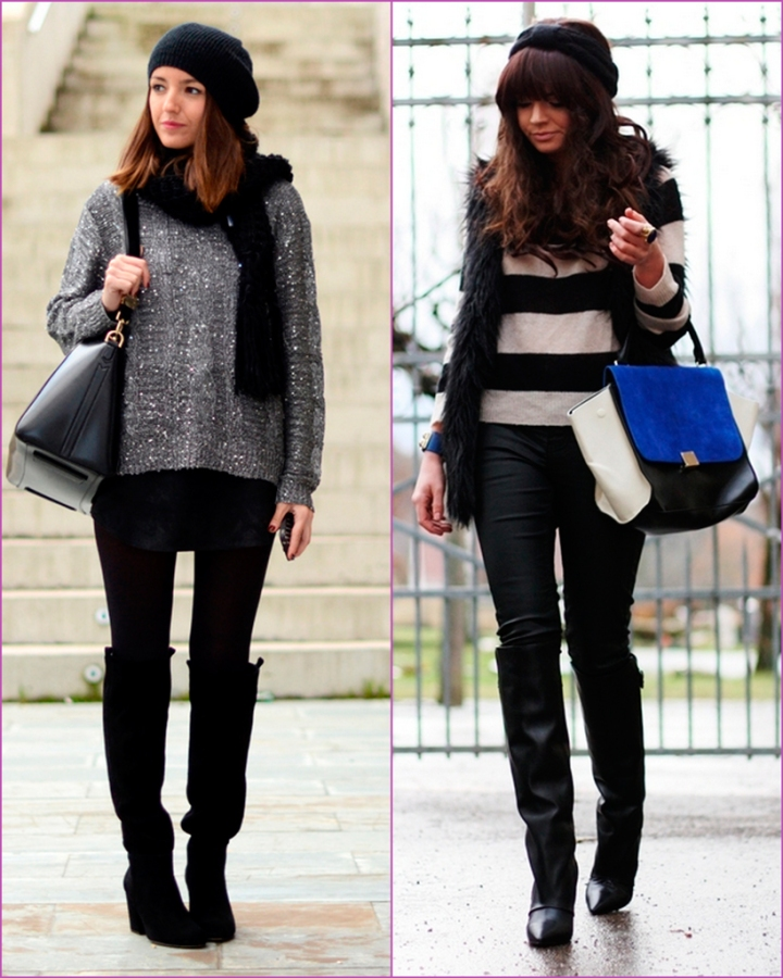 High black boots - sweater - suéter