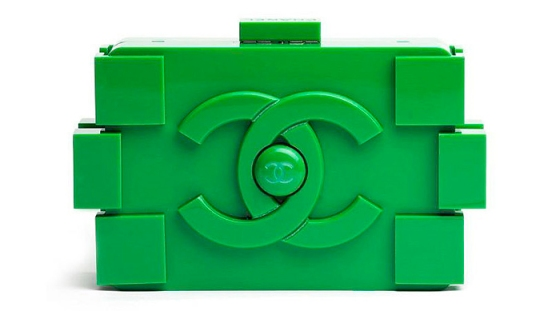 Green chanel lego clutch