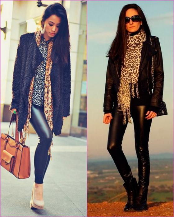 pantalon cuero - bufanda leopardo