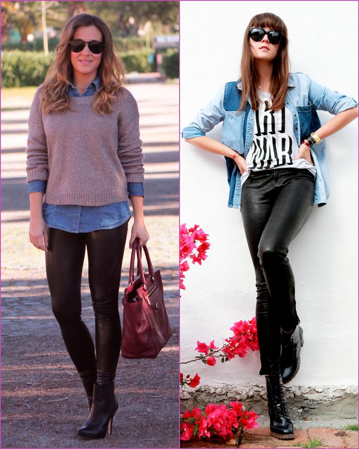 pantalón cuero - legging cuero - blusa jean - blusa tejana
