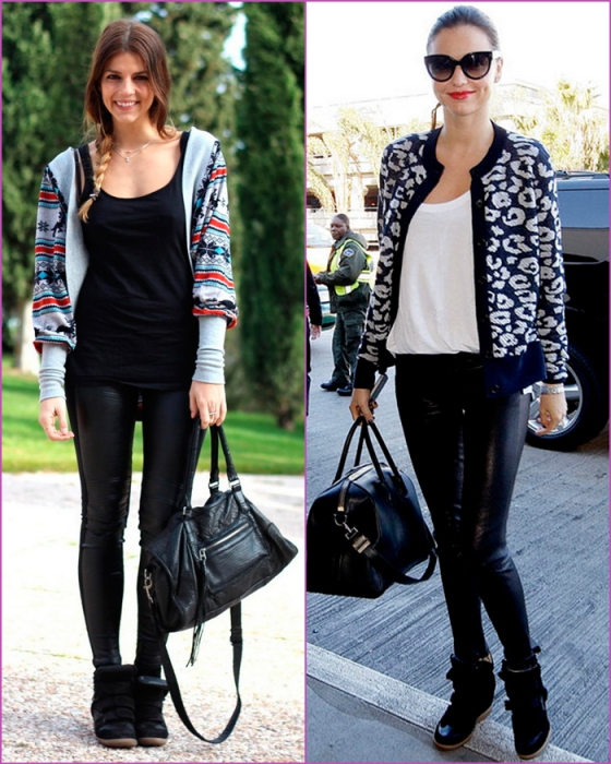 leather pant - open sweater