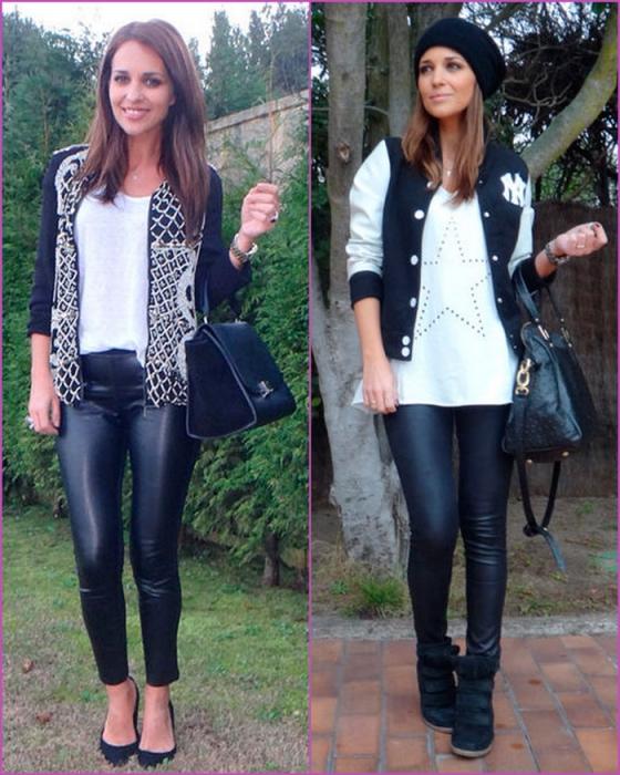 pantalón - legging cuero - leather - negro y blanco