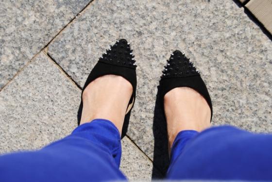 Spike black heels zara