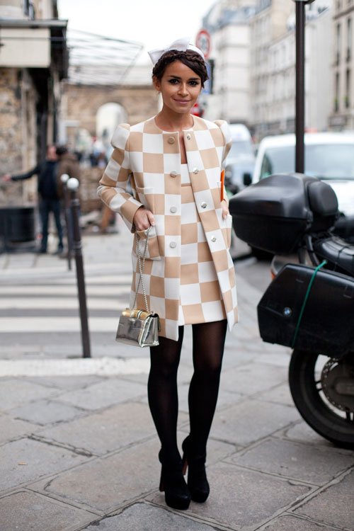 Miroslava Duma wearing Louis Vuitton checkerboard dress spring summer 2013