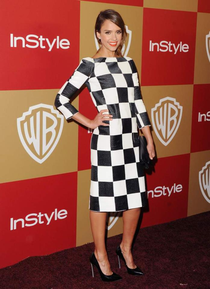 Jessica Albain Louis Vuitton in black and white checkerboard dress spring summer 2013