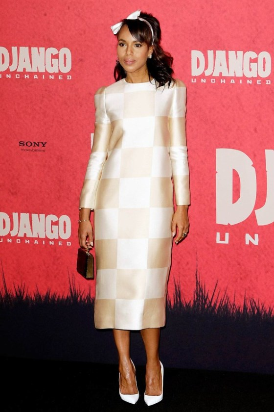 Kerry Washington in Louis Vuitton checkerboard dress spring summer 2013