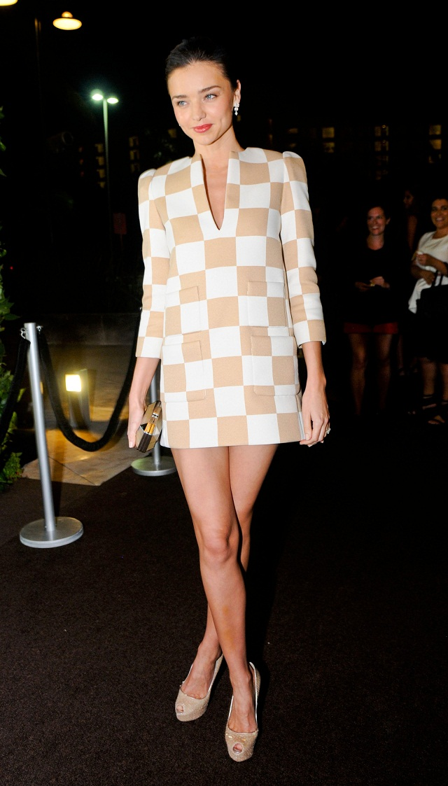 Miranda Kerr in Louis Vuitton checkerboard dress spring summer 2013