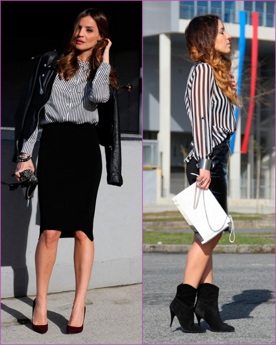 Black and white blouse and pencil skirt