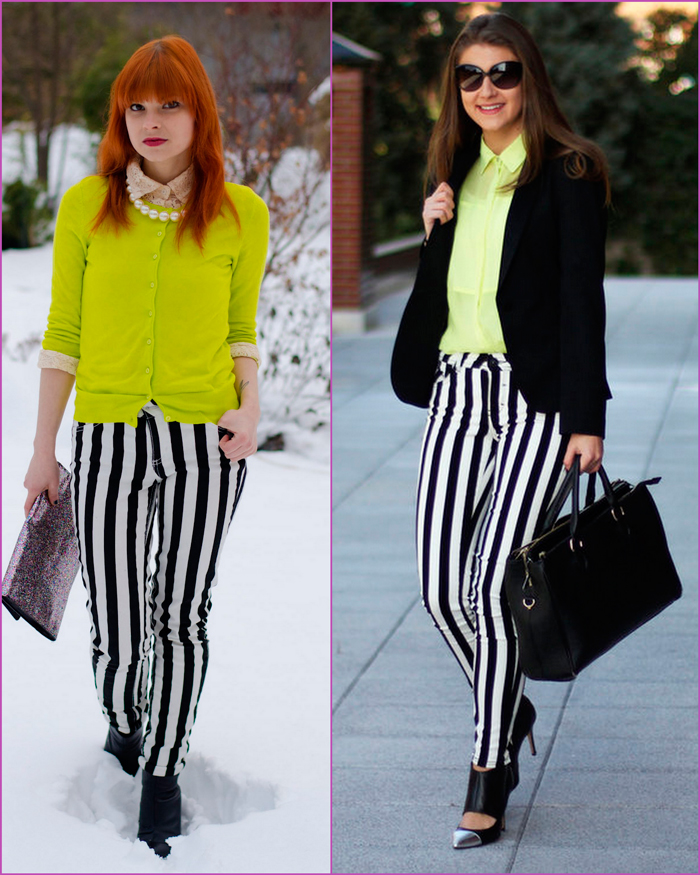 Black and white striped pants and neon