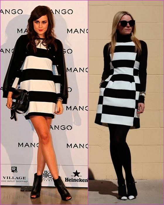 Vestido de rayas blancas y negras