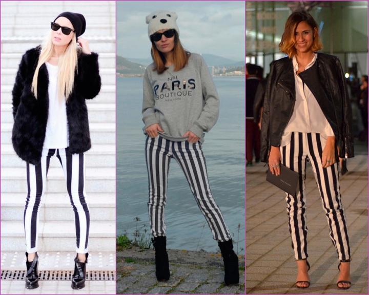 Pantalón de rayas blancas y negras