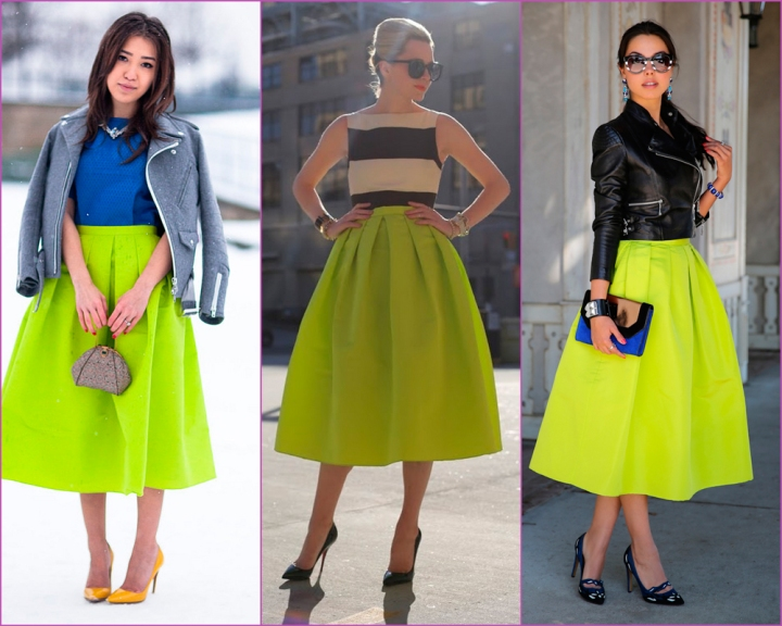 Tibi Neon yellow skirt