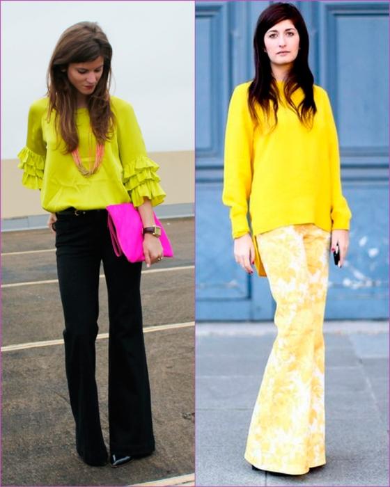 Flared pantas and yellow